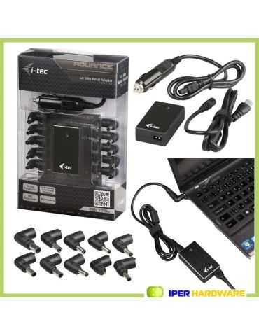 Caricabatterie Notebook Acer Asus Dell HP IBM LenovI-TEC Car Slim Metal Adapter 90W 1x USB +10