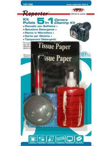 Reporter 10135, Chiffons secs et humides et liquide de nettoyage d'équipement électronique, LCD-TFT-Plasma, Ampoule