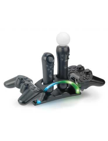 STAND BASE RICARICA PER 2 GAMEPAD PS3 E 2 CONTROLLERS PS MOVE PS3
