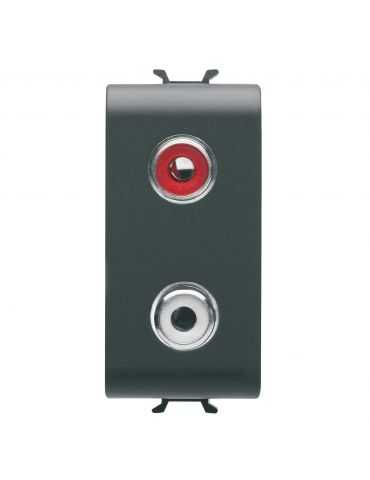 GEWISS GW12453 PRESA AUDIO VIDEO - RCA DOPPIO - 1 MODULO - NERO - CHORUS