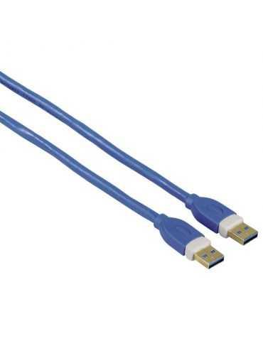 Hama 1.8m USB A USB A Bleu câble USB 3.0 Mâle/Mâle, Bleu, 5000 Mbit/s