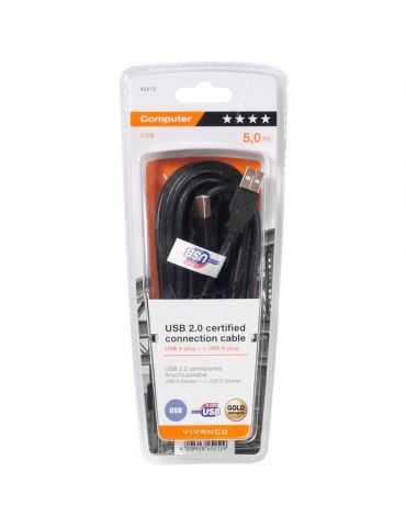 VIVANCO Câble Type A-B haut gamme certifié USB 2.0 noir 5 m Espon Canon HP Brother