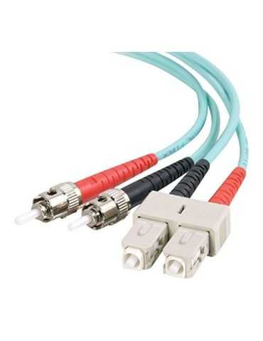 C2G câble de Fibre Optique (SC, St, Mâle/Mâle, OFNR, Turquoise, Multi-Mode)