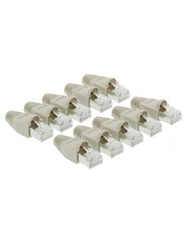 Lot de 10 fiche rj45 male blinde + manchon gris pour câble réseau