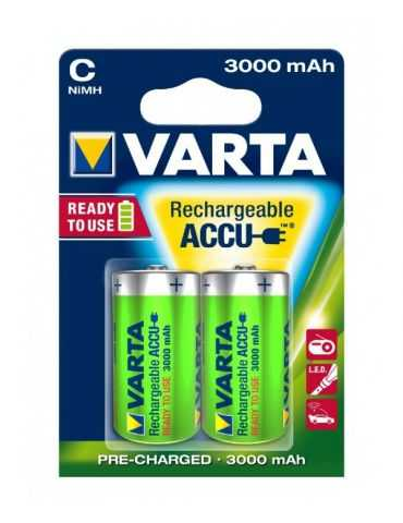 Piles rechargeables Blister 2 accus Ni-Mh 1,2V 3Ah C Power Varta 3000 mAh