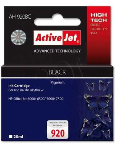 Activejet AH-920BC Cartouche d'encre Noir (pigmenté) HP 920 XL 20 ml